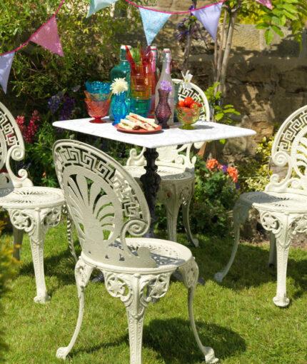 Kreidefarbe Gartenmöbellack - Kreidefarbe für Gartenmöbel Sitzgruppe Kalkweiß