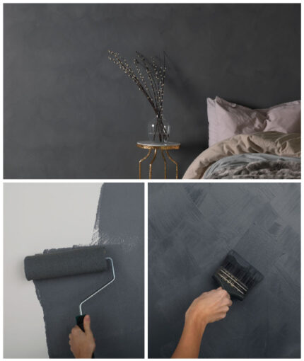 Wandfarbe Kalkstein-Effekt - Wandfarbe Kalkstein Effekt Holzkohle So gehts