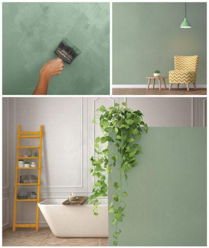 Wandfarbe Kalkstein-Effekt - Wandfarbe Kalkstein Effekt Tosakana Olivgrün